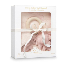 Giftbox Leaves Rattle & Swaddle  Dandelion Rose, CamCam