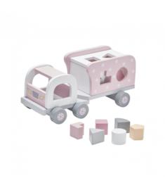 Houten vrachtwagen met vormpjes roze, Kidsconcept