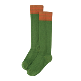 Rib kneesocks moss green, Mingo