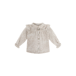 Frill Blouse cream leopard, House of Jamie