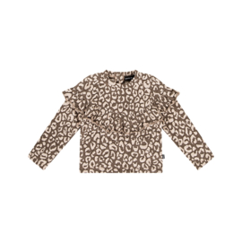 Sweater volant rosewood leopard, House of Jamie