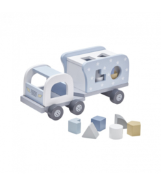 Houten vrachtwagen met vormpjes blauw, Kidsconcept