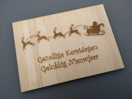 Gezellige Kerstdagen, Gelukkig Nieuwjaar, kerstman met slee