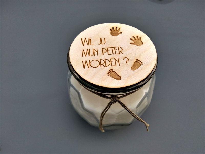Handgemaakte kaars, wil jij mijn peter worden?