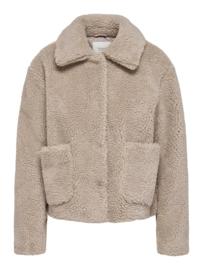 JDY - Dancer teddy jacket simply taupe