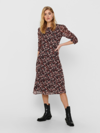 JDY - Kylie calf dress black pastel rose flowers
