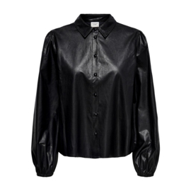 JDY - London faux leather shirt black