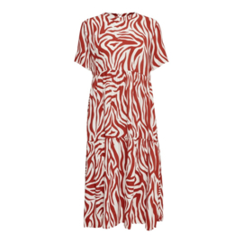 JDY - TARA MIDI DRESS PRISTINE RED OCHRE ZEBRA