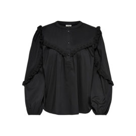 JDY - Enya placket puff top black