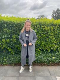 JDY - Emma long coat dark grey melange