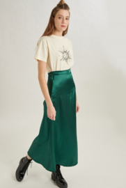 24colours - Satin rok groen