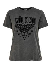 JDY - BOUNTY print top black milano