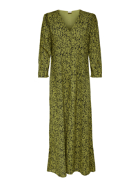 JDY - Melvin long dress green moss black dots