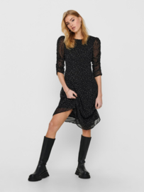 JDY - Kylie calf dress black pastel dots