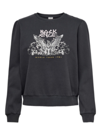 JDY - Amy print sweat black rock angel
