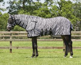 QHP Vliegendeken met nek en hoed Zebra