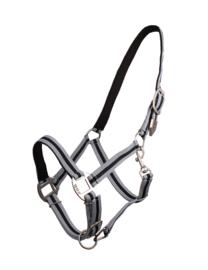 QHP halster gevoerd grijs/zwart