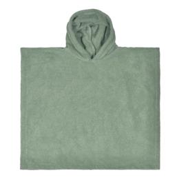 Poncho met naam stone green
