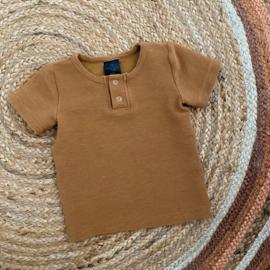 Button shirt rib dark camel