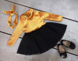Velvet tutu dress gold
