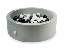 Ballenbak velvet grijs 90x30cm incl 200 ballen