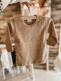 Basic shirt taupe lange mouw
