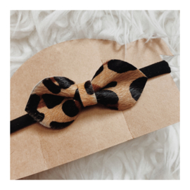 BIG LEOPARD BOW & BLACK BAND