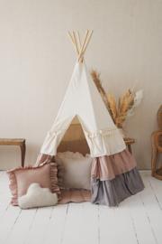 Tipi tent | Met volants oud roze/grijs