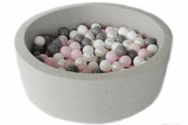 Ballenbak licht grijs 30 cm hoog incl 200 ballen