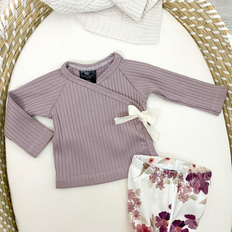 NEWBORN | Overslag shirtje strik rib purple