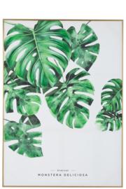 Zeefdruk palmbladen in gouden kader