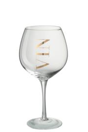 Wijnglas met gouden tekst VIN