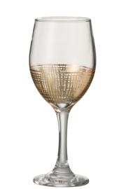 Drinkglas met gouden raster op voet