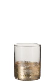 Drinkglas met gouden raster cilindervormig