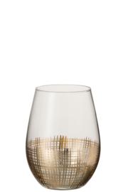 Drinkglas met gouden raster bolvormig