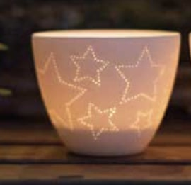 Theelicht porselein stars