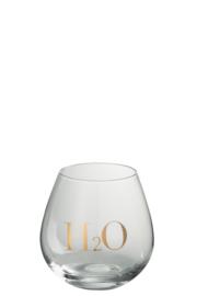 Drinkglas met gouden tekst H2O