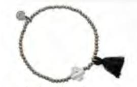 Armband bloem helder | zwart