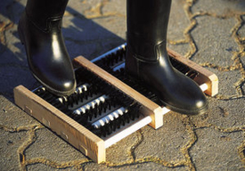 EKKIA Schoenschraper hout met borstels