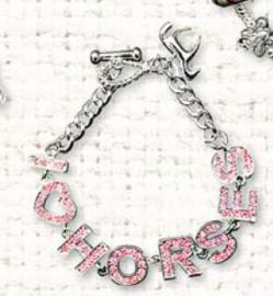 Bracelet I Love Horses strass Rose