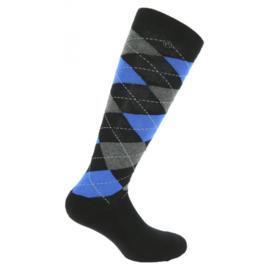 EQUITHÈME Argyle rijkousen Zwart/Blauw