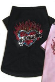DIVA DOG - T-shirt Flaming Heart Black