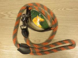 NORTON Koord/leder halsband met leiband Brindille/Oranje