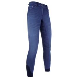 HKM Rijbroek Summer Denim Easy kinderen Jeansblauw silicoon zitvlak