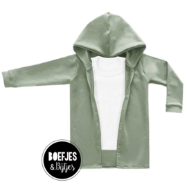 LONG HOODIE VEST - OLD GREEN