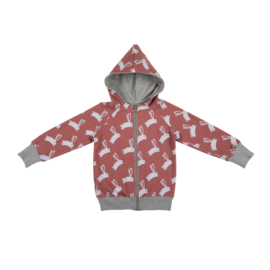Malinami -  Hare on Dusty Rose Zip Up Hoodie