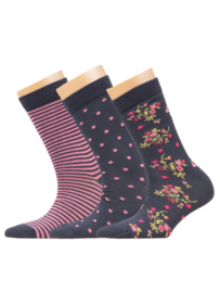 Ewers - Socken 3-Pack Flower/Dots/Stripes Tinte