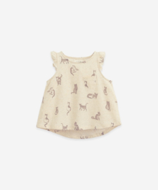Play Up - Top with Cat Print Mushroom