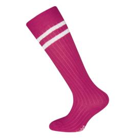 Ewers - Kniekousen met Ribmotief Twee Strepen Pink
