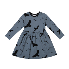 Malinami - Longsleeve Dress Birds on Dusty Blue